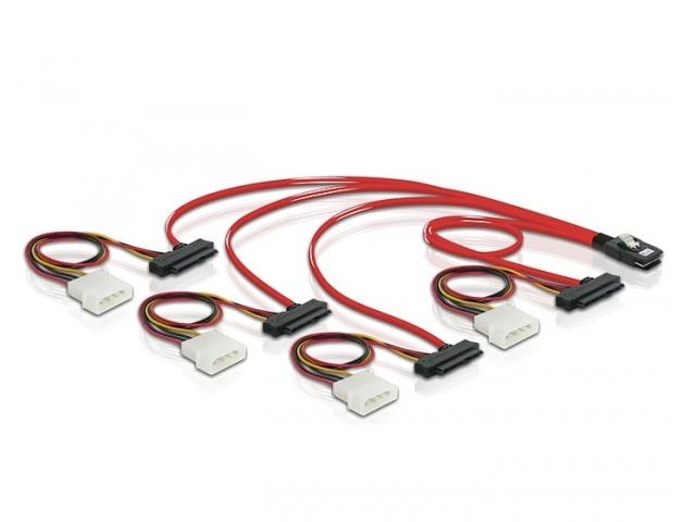 KABEL SAS MINI SFF-8087(M)->4X SAS SFF-8482(F)+4X MOLEX 4 PIN(M) 0.5M DELOCK