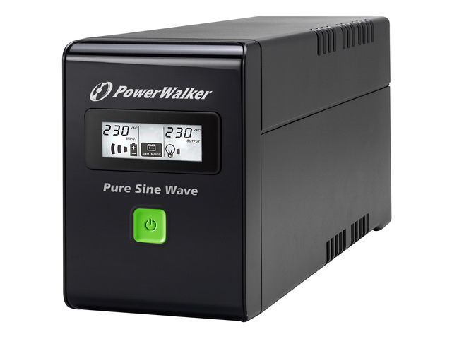 UPS POWERWALKER LINE-INTERACTIVE 800VA 2X 230V PL, PURE SINE WAVE, RJ11/45 IN/OUT, USB, LCD