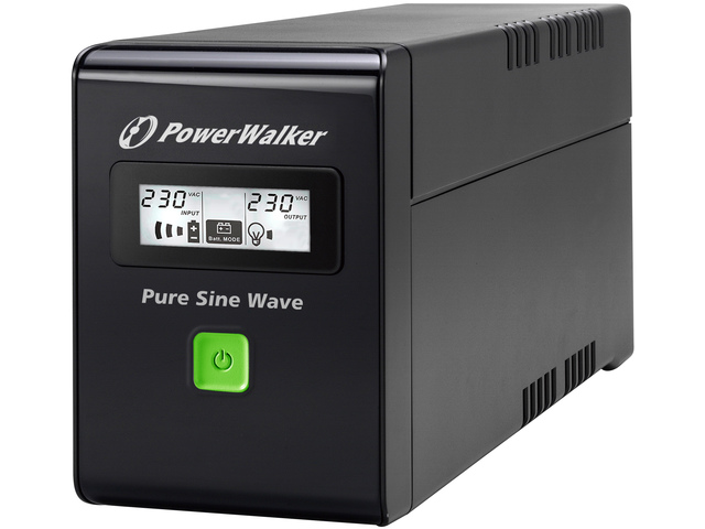 UPS POWERWALKER LINE-INTERACTIVE 800VA 2X 230V SCHUKO, PURE SINE WAVE, RJ11/45 IN/OUT, USB, LCD
