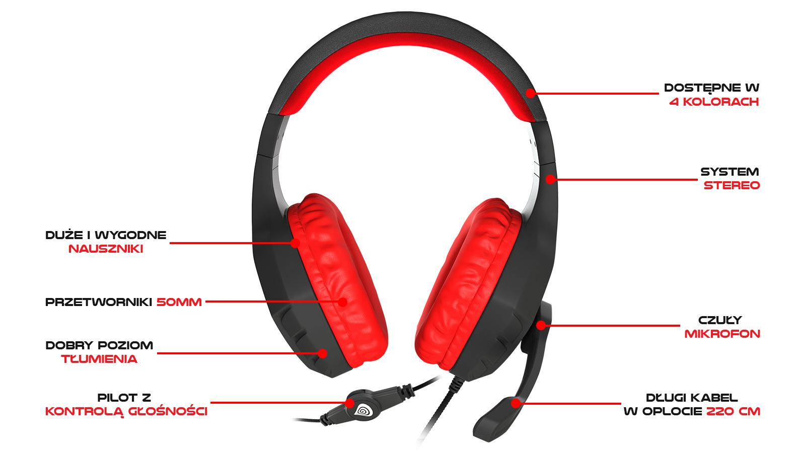 Słuchawki Genesis Argon 200 z mikrofonem czarne Sklep