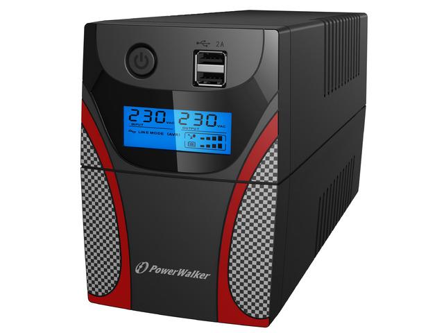 UPS DLA GRACZY POWERWALKER LINE-INTERACTIVE 650VA 2X 230V PL OUT, USB, LCD, 2X ŁADOWARKA