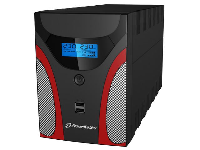 UPS DLA GRACZY POWERWALKER LINE-INTERACTIVE 2200VA 4X 230V PL, USB, LCD, 2X ŁADOWARKA USB