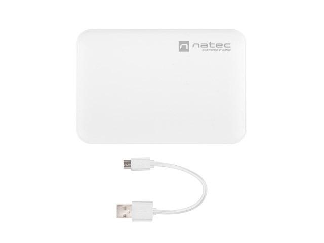 POWER BANK NATEC EXTREME MEDIA TREVI COMPACT 5000MAH 2X USB-A + 1X USB-C BIAŁY