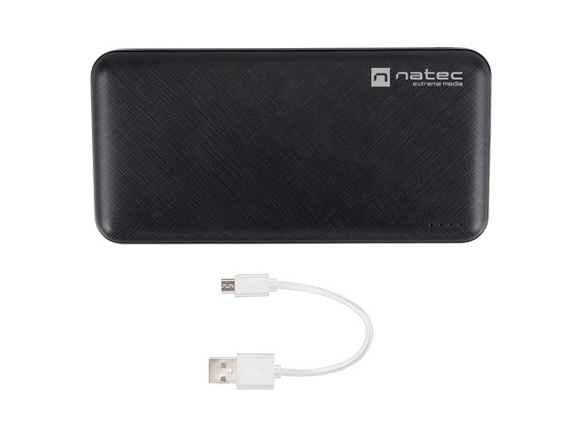POWER BANK NATEC EXTREME MEDIA TREVI SLIM 10000MAH 2X USB-A + 1X USB-C CZARNY