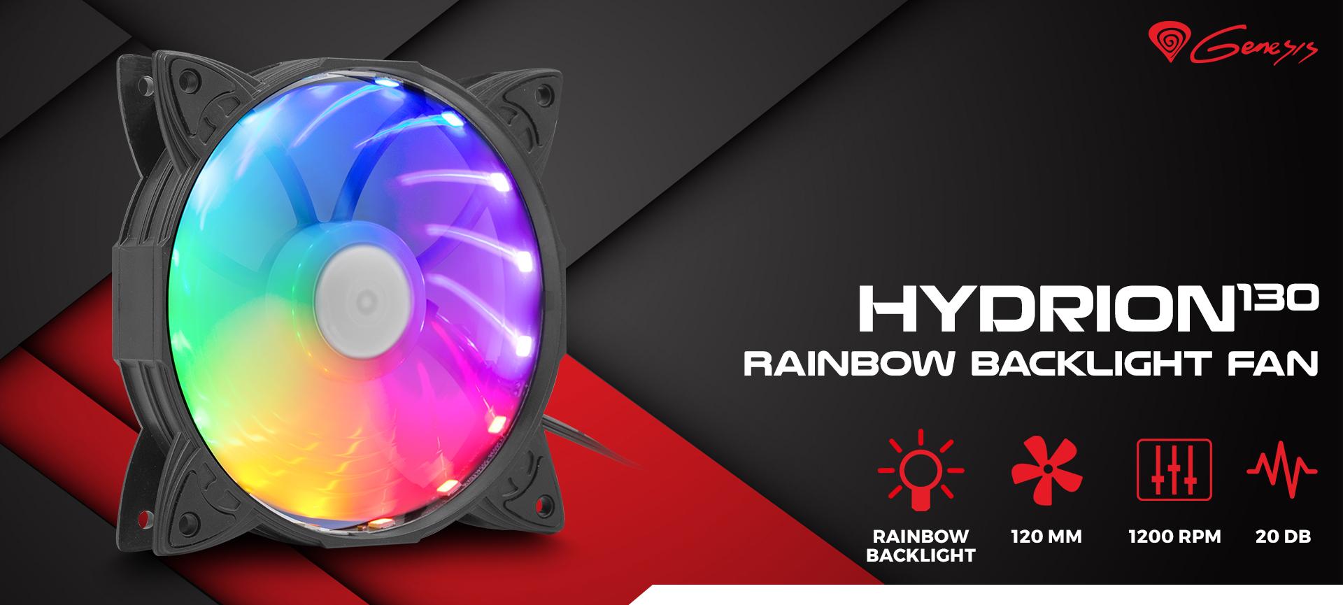 fan genesis hydrion 130 gökkuşağı led 120mm 1