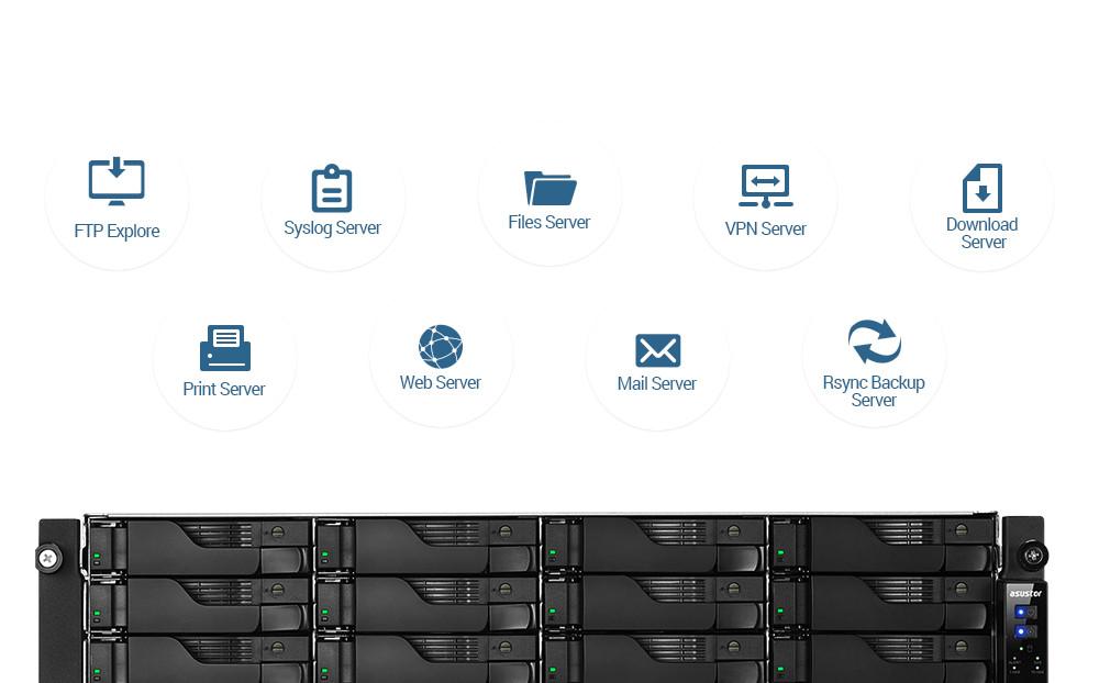 network attached storage 3u rack, 16hdd bay, 2x m.2 slot asustor lockerstor 16r pro as7116rdx 31