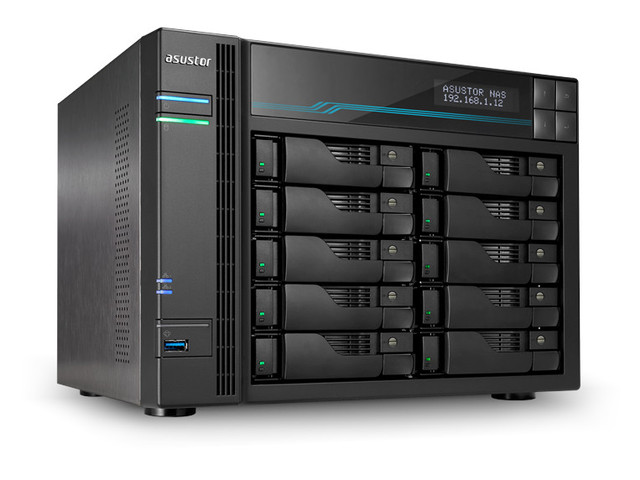 network attached storage tower, 10-bay, asustor as7110t lockerstor 10 pro 1