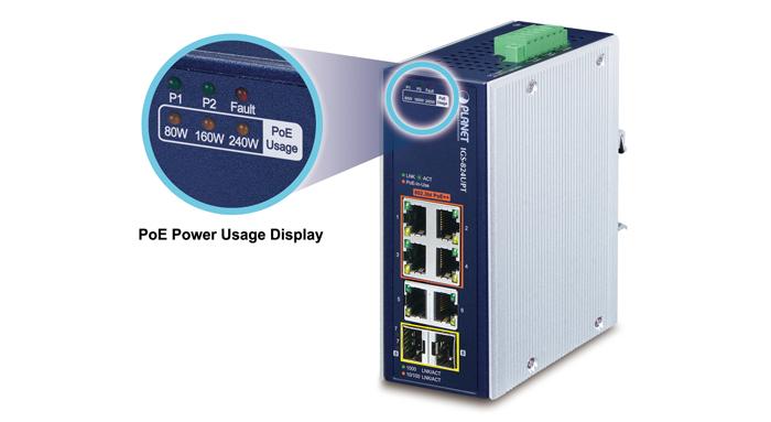 switch planetigs-824upt 4x poe+ + 2 x 1gb/s + 2 x sfp, industrial, l2/l4 unmanaged, gigabit ethernet 2