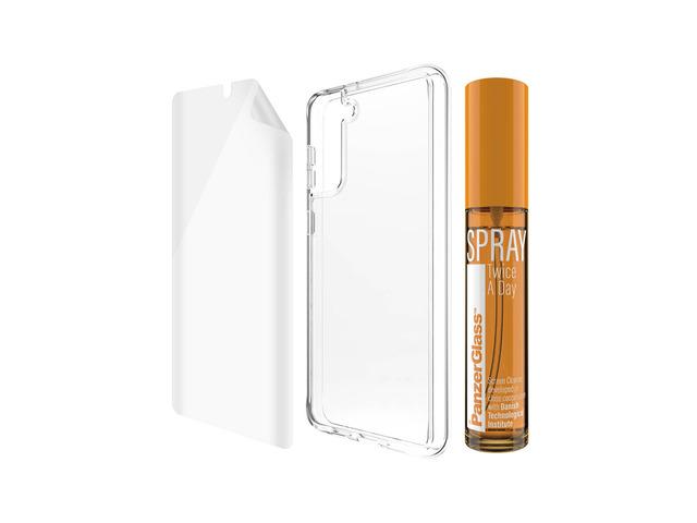 hygiene pack panzerglass for samsung galaxy s21+ antibacterial (tpu, clearcase, 30 ml spray) 2
