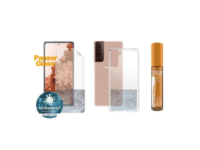 hygiene pack panzerglass for samsung galaxy s21+ antibacterial (tpu, clearcase, 30 ml spray) 3
