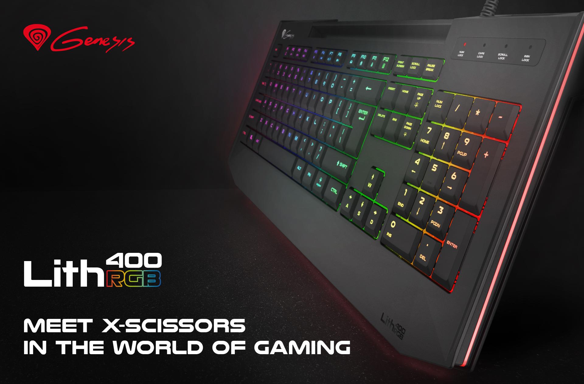 oyun klavyesi genesis lith 400 rgb us düzeni arka ışık x-scissor slim 1