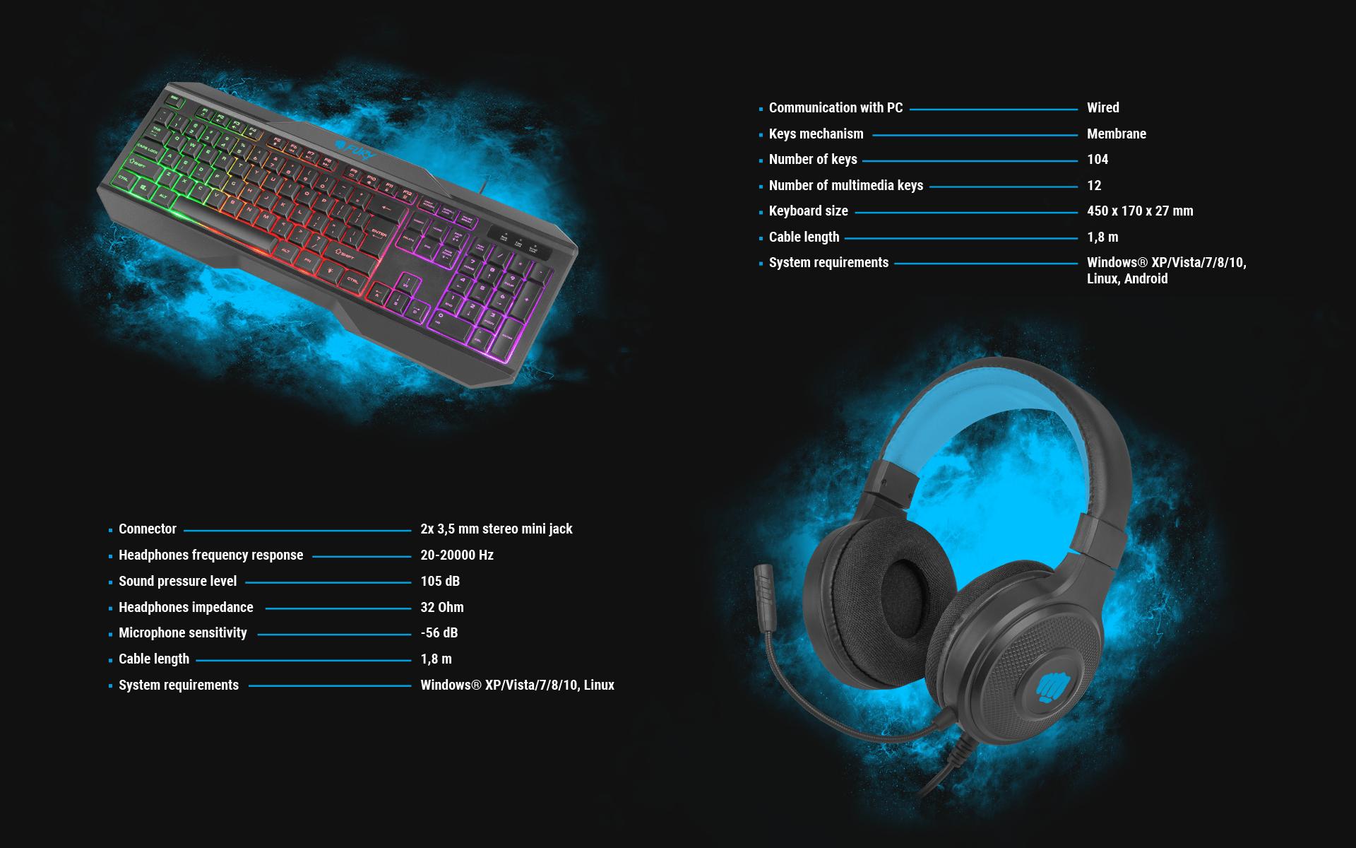 gaming combo set 4in1 fury thunderstreak 3.0 cz/sk keyboard + mouse + headphones + mousepad, cz/sk 8