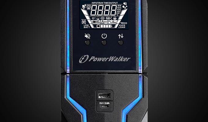gaming ups line-interactive 1500va power walker, 4x 230v pl, usb, lcd, 2x charger usb, rgb lghting 5