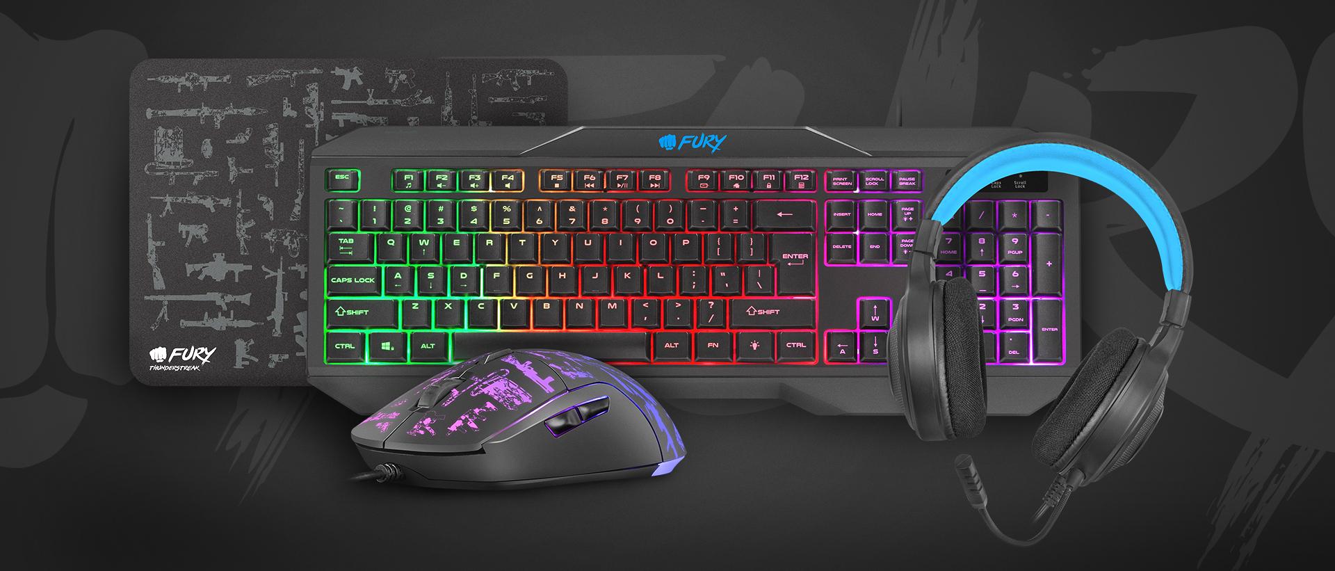 gaming combo set 4in1 fury thunderstreak 3.0 cz/sk keyboard + mouse + headphones + mousepad, cz/sk 9
