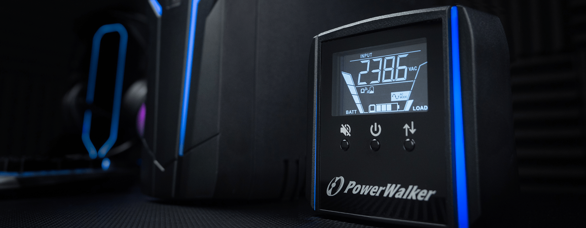 gaming ups line-interactive 1500va power walker, 4x 230v pl, usb, lcd, 2x charger usb, rgb lghting 8