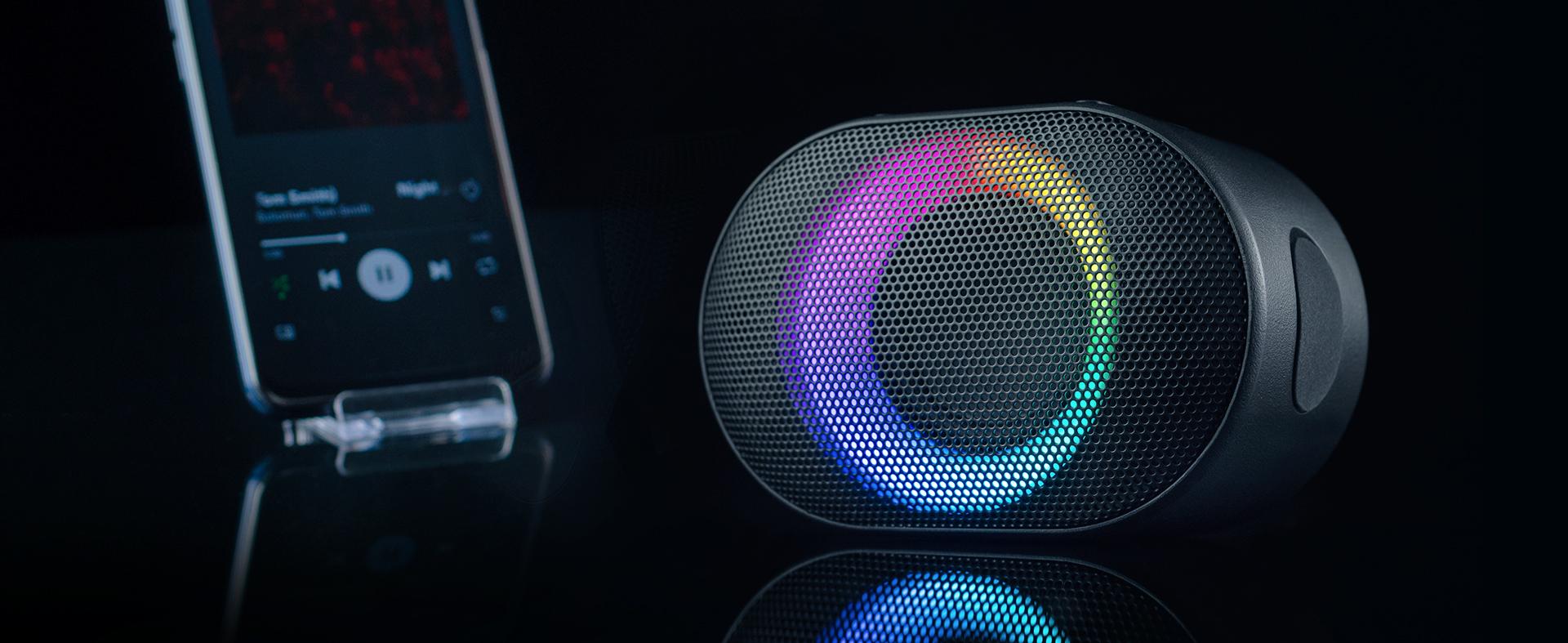 bluetooth speaker audictus aurora mini 7w rgb black 2