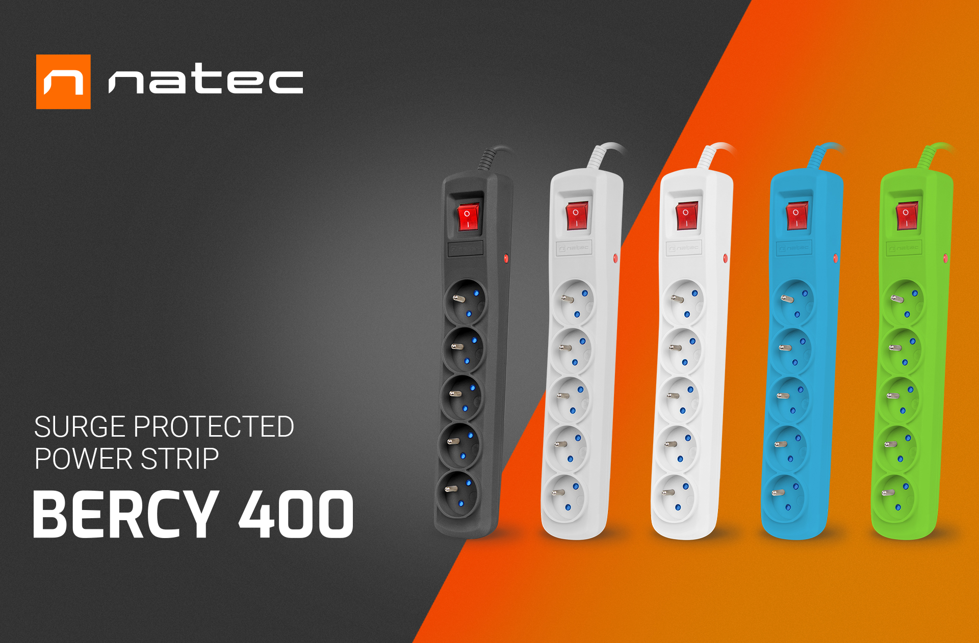 surge protector natec bercy 400 1.5m 5x french outlets green 1